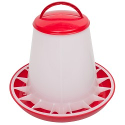 Voerhopper MET deksel inhoud 3 kg (rood/wit)