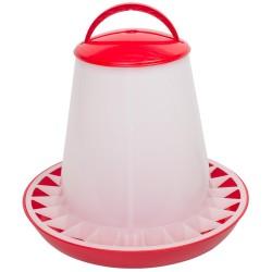 Voerhopper MET deksel inhoud 10 kg (rood/wit)