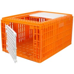 Transportkist voor pluimvee oranje hoog model (77x58x42cm), 2 deurtjes