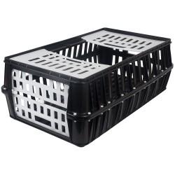 Transportkist voor pluimvee, zwart, klein, 2 deuren, 85x50x30cm