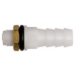 Slangaansluiting 10 mm POM wit/rubber ring/messing moer