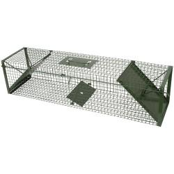 Vangkooi 100 cm, 2 ingangen, groen,  groot model (100x24x24 cm)