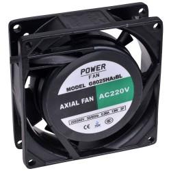 Powerfan vent. 80x80x25 mm, kogell., rooster en aansl.kabels