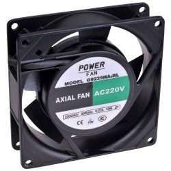 Powerfan vent. 92x92x25 mm, kogell., rooster en aansl.kabels