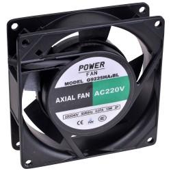 Powerfan vent. 92x92x25 mm, kogell., rooster en aansl.kabels