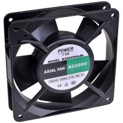 Powerfan vent. 120x120x25mm, kogell., rooster en aansl. kabels