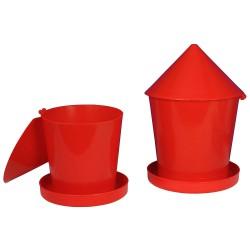 Voerhopper voor kuikens met draaideksel 4 kg, (PP / Rood)