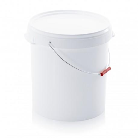 Voederton rond met deksel en handvat met grijprol 30L
