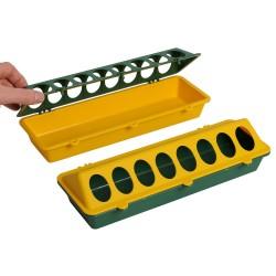 Kuikenvoerbak 30 cm kunststof, geel/groen