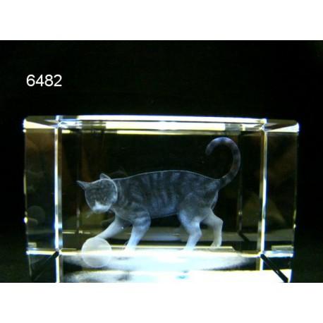 Poes 3D glasblokje