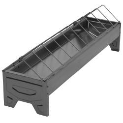 Pluimveevoerbak 50cm verzinkt met draadgril, linear