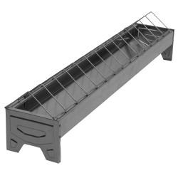 Pluimveevoerbak 75cm verzinkt met draadgril, linear