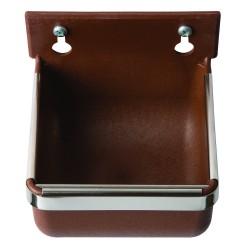 Voer-/drinkbakje 400 ml (nylon+glasvezel) wandmontage bruin