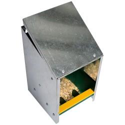 Voerbak verzinkt met schuine deksel cap. 2,5 kg