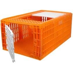 Transportkist voor pluimvee, hoog, oranje, 2 deuren, 97X58X42cm, HDPE