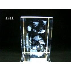 3D Glasblokje met tropische vissen