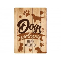 "Deco Bordje metaal ""Dogs Welcome"""