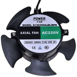 Powerfan vent. 120x120x38mm, kogell. ZONDER FRAME BLAZEND