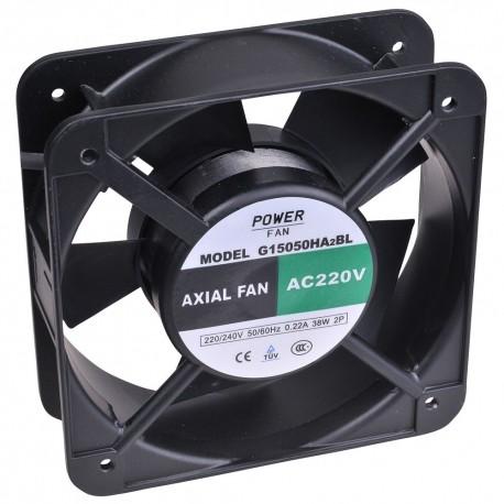 Powerfan vent. 150x150x50mm, kogell., rooster en aansl. kabels