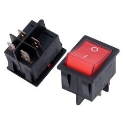 Aan/uit schakelaar 4-kant met neonlampje rood, 22x29 mm