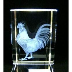 Haan in 3D in glas