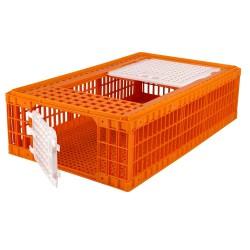 Transportkist voor pluimvee, oranje, 2 deuren, 97x58x29cm, HDPE